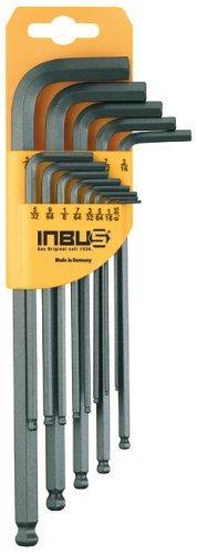 """Preisvergleich Produktbild INBUS® 70433 Inbusschlüssel Zoll Set mit Kugelkopf 13tlg 0.05-3/8""""   Made in Germany   Innensechskant-Schlüssel   0.05   1/16   5/64   3/32   7/64   1/8   9/64   5/32   3/16   7/32   1/4   5/16   3/8   Inch   Imperial   Stahlgrau"""