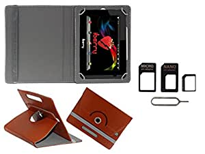 Gadget Decor (TM) PU Leather Rotating 360° Flip Case Cover With Stand For iBall 3G17 Tablet + Free Sim Adapter Kit - Brown