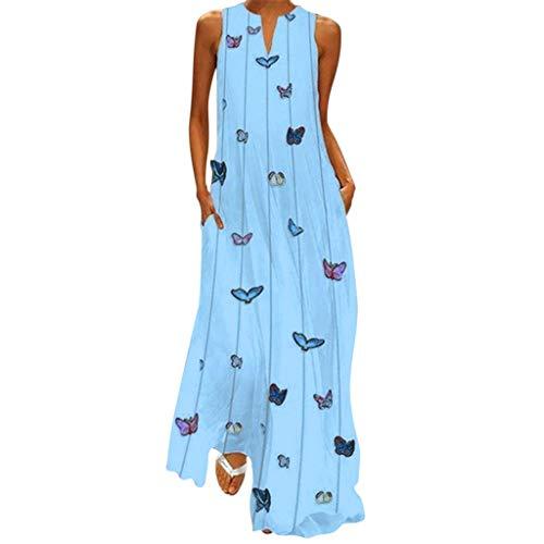 QIMANZI Maxikleid Übergröße Damen Jahrgang Täglich Beiläufig Ärmellos Baumwollmischung Gedruckt Blumen Sommerkleid Boho Kleider(C Blau,2XL) -