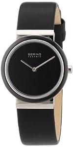 Reloj Bering Ceramic de mujer de cuarzo con correa de piel negra - sumergible a 50 metros de Bering Time