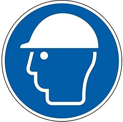 LEMAX® Gebotsschild Schutzhelm benutzen, ASR/ISO, Folie, selbstklebend, Ø 100mm