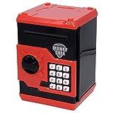 Tirelire électronique Apuppy pour enfants, pour pièces et billets, petit coffre-fort avec combinaison - Un cadeau parfait pour les enfants, noir/rouge