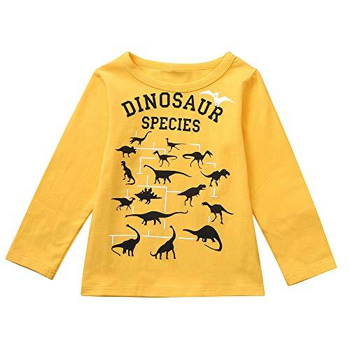 ALISIAM Kinderkleidung Kind Winter Frühling Freizeit Mode Gemütlich Täglich Warm halten Lose Rundhals Lange Ärmel Dinosaurier drucken Sweatshirt Tops Trainingsanzug