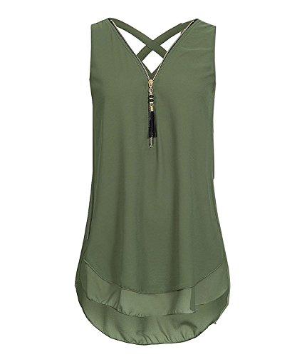 ASKSA Damen Chiffon Bluse Ärmellos Reißverschluss V Ausschnitt Rückenfrei Tank Tops T-Shirt (Armeegrün, 3XL)