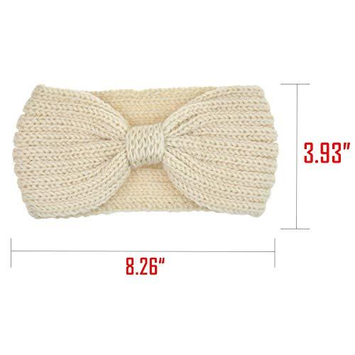 DRESHOW 4 Stück Damen Gestrickt Häkelarbeit Stirnband Schleife Design Winter und Frühling Kopfband Haarband