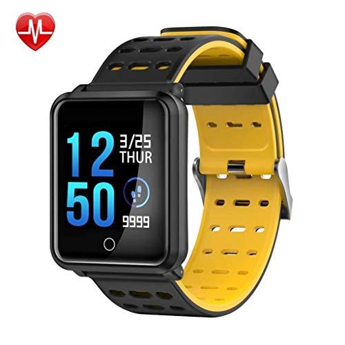 Intelligente Uhr Fitness Tracker, Sport Schrittzähler, Herzfrequenz-Blutdruck-Schlafmonitor, IP68 wasserdichte intelligente Uhr, Activity Tracker für Android/iOS (Color : Schwarz)