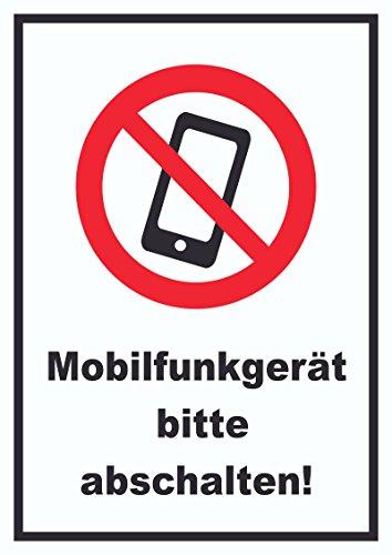 Smartphone Handy aus Mobilfunkgerät abschalten Schild A4 Rückseite selbstklebend