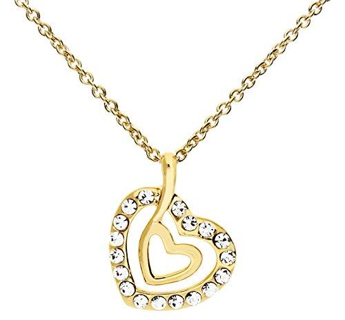 MYA art Damen Kette Halskette mit Herz Anhänger Swarovski Elements Kristall Strass Steinen Gold vergoldet Herzkette - Valentinstag Geschenk für sie MYAGOKET-3B (Anhänger Gold)