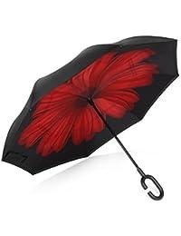 TRADE® Capa doble Paraguas invertido A prueba de viento Anti-ultravioleta Paraguas antirreflectante Con mango de goma en forma de C Y la barra del paraguas de la fibra, Margarita roja