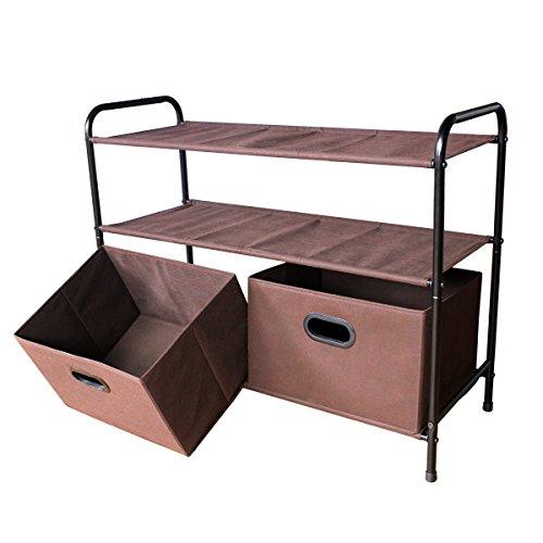 Clothes Storage, Dailyart Brown 3 Tier Storage Organizer Rack Standing Wardrobe Shoe Storage Shelf with 2 Collapsible Drawers