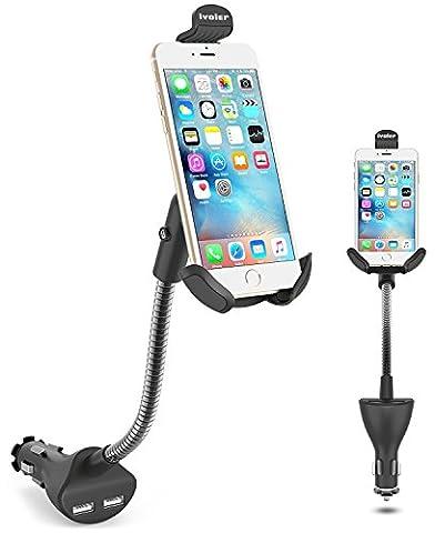iVoler Universel Réglable 360°Rotation Support Téléphone Auto Voiture Monture Berceau avec Double USB Ports 3.1A Chargeur pour iPhone 7/7 Plus/6S/6s Plus/5S/5C/SE, Samsung Galaxy S8/S7 Edge/S6 Edge, LG G6, GPS, MP3 Player et les autres Smartphone -