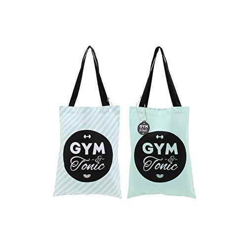 CGB Giftware - Gym And Tonic - Borsa tote con scritta (ambo lati) (Taglia unica) (Acqua ) Acqua