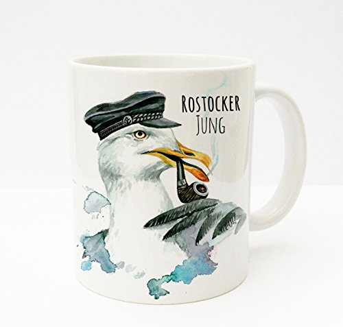 ilka parey wandtattoo-welt® Becher Tasse Kaffeetasse cup mug Kapitän Möwe mit Pfeife Mütze und Spruch Rostocker Jung ts192