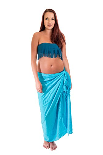Sarong Pareo Lunghi Dhoti Wickelrock Standtuch Halstuch Stickerei Tolles Muster Türkis