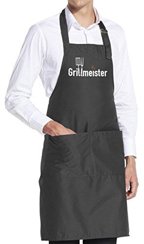 vanVerden Schürze Grillmeister BBQ Grill Garten Fun Grillschürze inkl. Geschenkkarte, Farbe:Dark Grey (Grau) -
