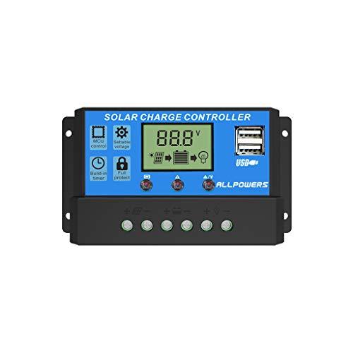 Yncc ALLPOWERS 20A Solarladegerät Controller Solarbatterie Intelligenter Regler Leistungsregler Mit Zwei USB-Ports 12V / 24V 140 * 80 * 40MM