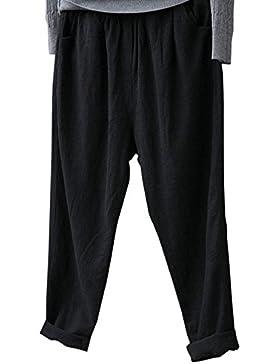 Pantalones De Lino Para Mujer Suaves Cómodos Anchos Pantalones Playa Pantalones Sueltos