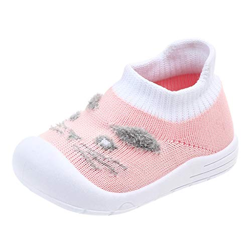 Vovotrade Babyschuhe, Katzenabdruck Mädchen Junge Baby Kleinkind Süß igkeitenfarbe Fliegendes Weben Sport Weicher Boden Elastisches Tuch Freizeitschuhe - Zucker Damen Stiefel