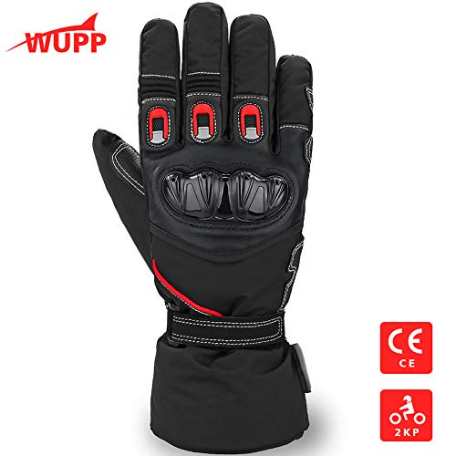 WUPP Guanti Moto Invernali, Guanti da Scooter Impermeabili in Thinsulate 3M Antivento, Protezione Scafo anti-shock, Touch Screen Spessi lunghi e caldi rinforzato in pelle antiusura Guanti Uomo Do