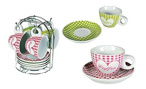Coffee Becher mit Untertasse ca. 7x5 cm 4 Tassen 4 Untertassen auf Chromständer 4 Untertassen