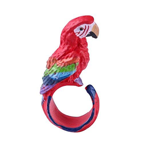 Tinksky Anillos animales creativos lindos de la historieta Adorable regalo de cumpleaños de la Navidad del regalo de la joyería de la personalidad del anillo de dedo de la historieta para los niños loro