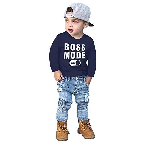 Sumeiwilly 2 stücke Baby Anzug Kleinkind Baby Langarm Brief T-Shirt Tops Jeans Hosen Böden Kleidung Set Säugling Jungen - Denim Romper Kostüm