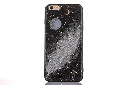 CrazyLemon Hülle für iPhone 6S, Hülle für iPhone 6, 3D Schön Bunt Bling Funkeln Grau Star Mond Planet Silber Sternennacht Galaxis Epoxy-Prozess Weich TPU Hülle für iPhone 6S iPhone 6 4.7