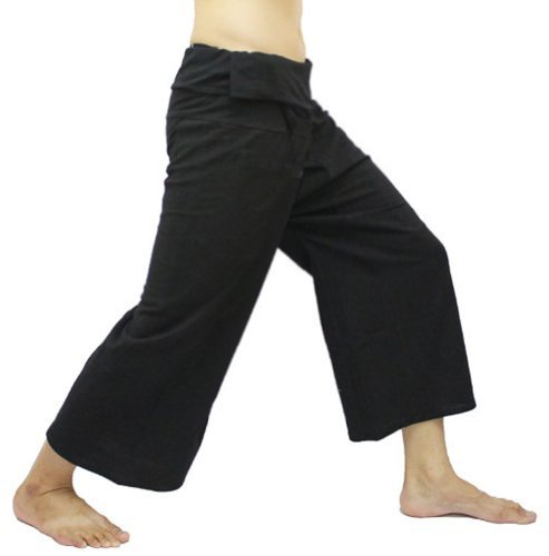 Black Thai Fisherman Wrap Pants Trousers Yoga Massage Pregnancy Pants 100% Light Cotton Free Size by Thai hand made