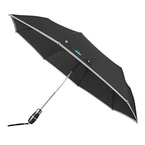Automatischer Regenschirm, Kealive Notausfallhilfe für Auto mit warnenden Reflexstreifen, Schwarz