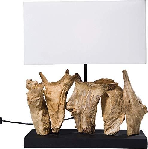 Kare Design Tischleuchte Nature Vertical, moderne Design Nachttischlampen aus Treibholz, Weiß...