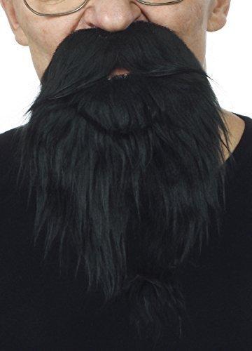Mustaches Selbstklebende Neuheit Philosopher Fälscher Bart Falsch Gesichtsbehaarung Kostümzubehör für Erwachsene Schwarz ()