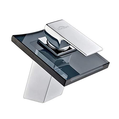 Auralum Chrom Glas Wasserhahn Waschtischarmatur Einhebelmischer Waschbecken Armatur Bad