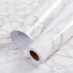 Papier Peint de Marbre Adhesif Papier Adhesif pour Meuble Gris/Blanc Imperméable Papier Peint Adhesif Mural Autocollant Cuisine Salle de Bain Étanche Meubles Comptoir Mur Vinyle Film 60cm * 2m