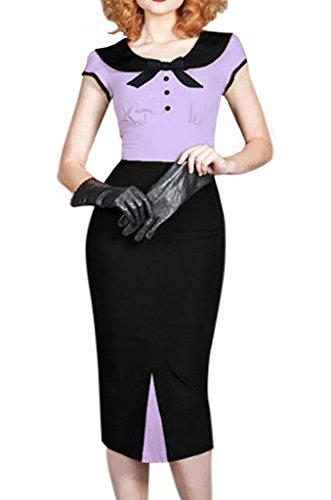 Bigood Femme Manche Courte Robe Crayon Jointif Hanche Jupe Nœud à deux Boucles Violet