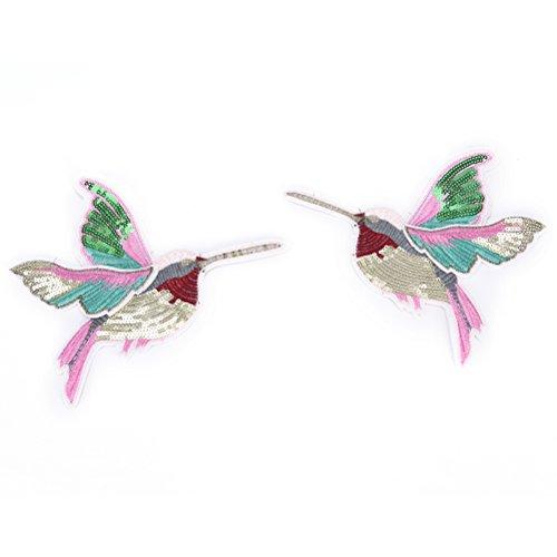 Stickerei Kolibri Nähen auf Patch Badge bestickt Stoff Applikation von toyzhijia 2 Types (Kolibri-stoff)