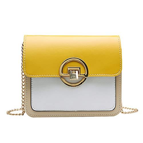 NMERWT Frauen Umhängetasche Kontrastfarbe bedeckt Schultertasche Handytasche Damen Handtasche Elegant Tasche Kette Messenger Bag Strandtaschen für Frauen
