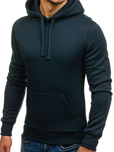 BOLF Herren Kapuzenpullover Sweatshirt Hoodie Basic Sport Style Mix 1A1 Dunkelblau_AK47-15