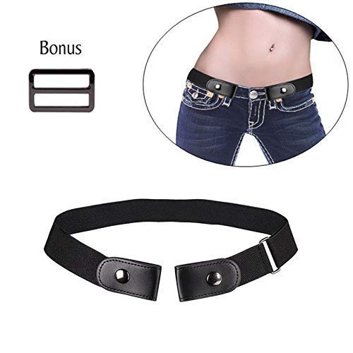 7ba4afe8ef3 Cinturón elástico sin Hebillas para Mujer,cómodo cinturón elástico  Invisible para Pantalones Vaqueros,Vestidos