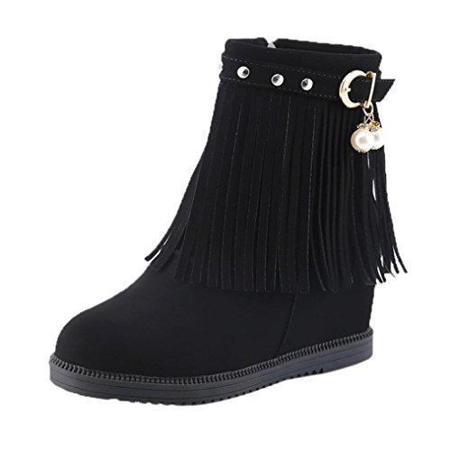 Botines Planos de Cuña Para Mujer Zapatos Plataforma Negro Por ESAILQ I
