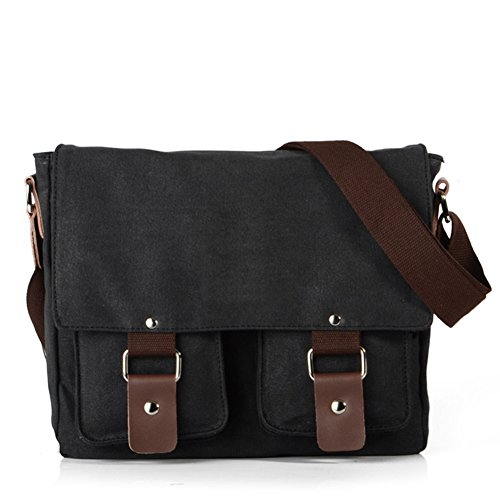 Keemoo Unisex, in tela, borsa Messenger, Borsa a spalla, in pelle nero nero nero - nero