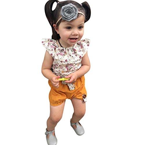 Vovotrade Kleinkind Kinder Mädchen Blumen Ärmellos Tops + Bow Shorts Hosen Outfits Kleider Set (1 ~ 3 Jahre alt) (Größe: 2T)