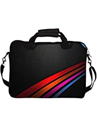 """Snoogg Colored Lines On Leather 10"""" 10.5"""" 10.6"""" Inch Laptop Notebook SlipCase With Shoulder Strap Handle Sleeve..."""