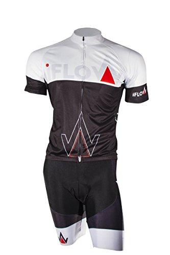 iFLOW Profi Fahrrad Jersey & Bib Short Set, Radtrikot & Radhosen Set, 3D Sitzpolster, MTB Fahrrad Bekleidung (M) (Team Shorts Bib Pro)
