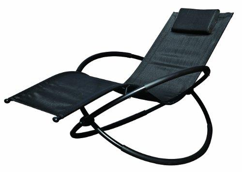 GardenKraft 19180 Benross Louis Moon - Chaise longue a dondolo, con cuscino, colore nero