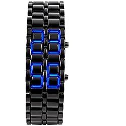 safeinu girl Blue Light Black Metal Strap Lava Style Digital LED Watch