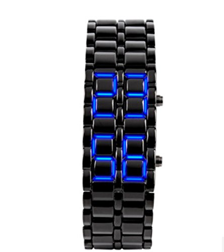 Price comparison product image Domire boy Blue Light Black Metal Strap Lava Style Digital LED Watch