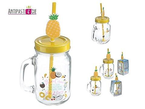 Set de 6 mugs mason jar verres à cocktail exotique, ananas, idéal mojito margarita sangria