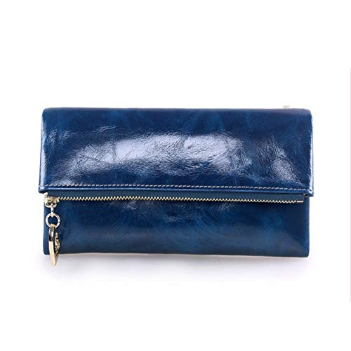 Damen Portemonnaie Clutch Bag Damen lange Brieftas Damen Geldbörse hat eine Menge Kartenfächer Leder Damen Geldbörse Leder dreifach gefaltete Damen lange Geldbörse Rose Red Royal Blue ( Farbe : Blau ) Red Royal Rose