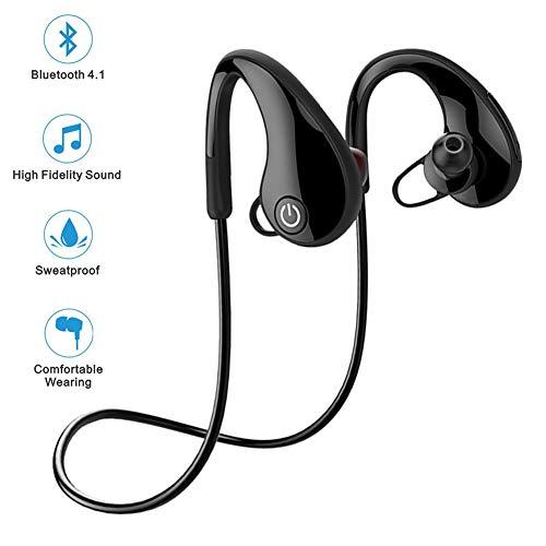 Auricolari Bluetooth Wireless Sport Auricolari Bluetooth 4.1 Bassi Stereo Sweatproof Auricolari con Ganci per l'orecchio e Microfono Noise Cancelling Headset per Allenamento Running Gym 6 ore di gioco