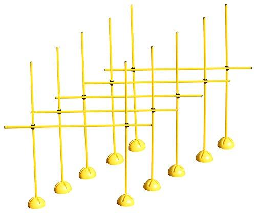 5er Sprungstangen-Set XS160yc (15 Stangen, 10 X-Standfüße, 10 Clips) - Farbe: gelb